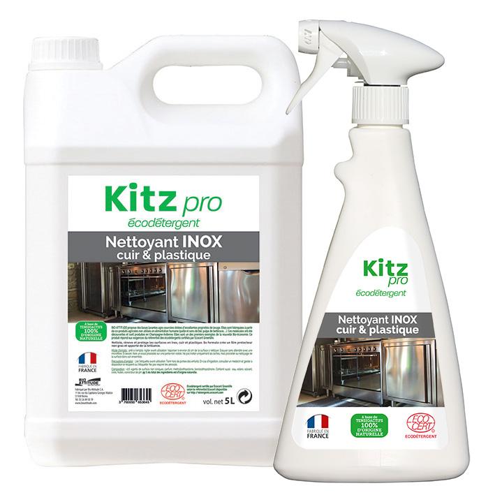 Nettoyant Inox, cuir et plastique Kitz Pro - Nettoyants écologiques puissants pour l'entretien des locaux professionnels et de la maison.